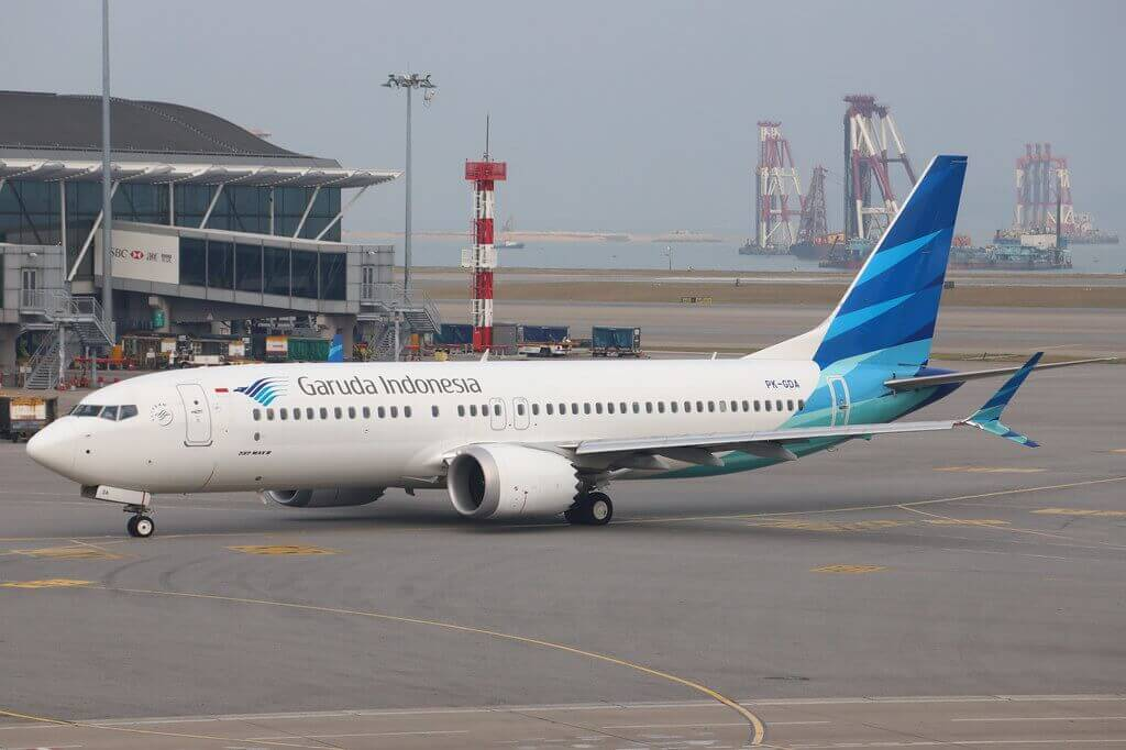 Garuda Indonesia PK GDA Boeing 737 MAX 8 at Hongkong International Airport