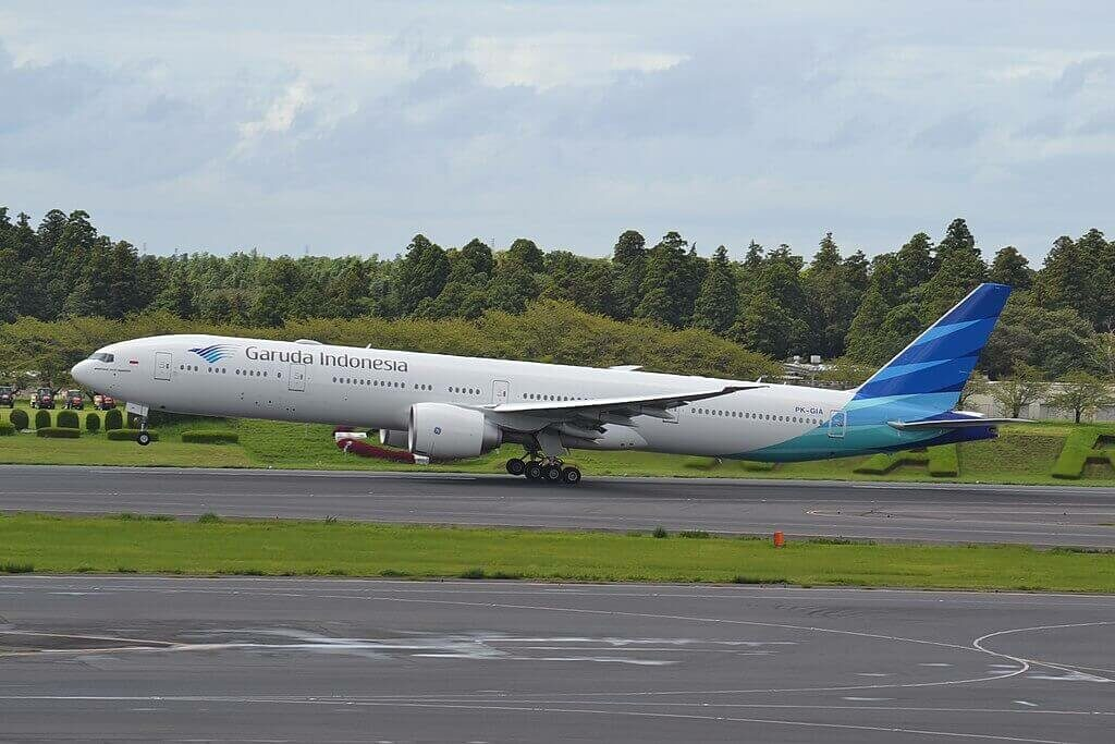 Garuda Indonesia PK GIA Boeing 777 3U3ER departing Narita International Airport