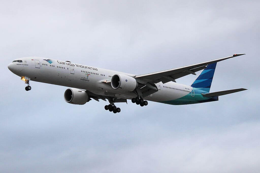 Garuda Indonesia PK GIG Boeing 777 3U3ER at London Heathrow Airport