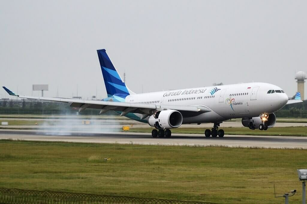 Garuda Indonesia PK GPL Airbus A330 243 at Shanghai Pudong International Airport