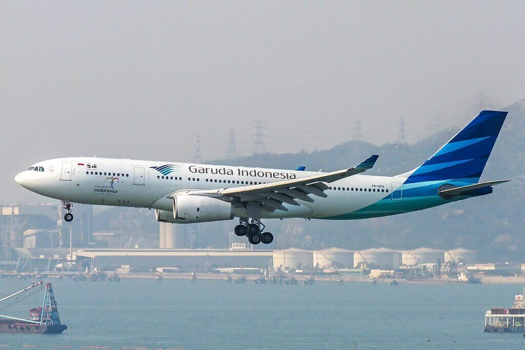 Garuda Indonesia PK GPS Airbus A330 243 at Hong Kong International Airport