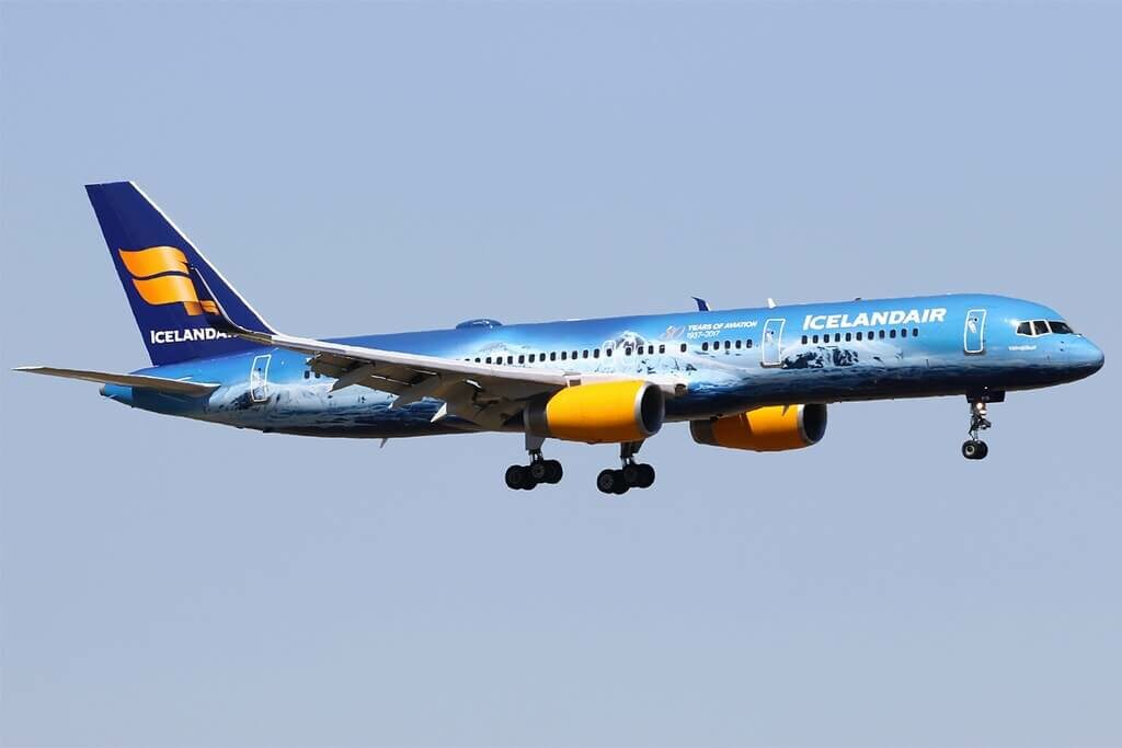 Icelandair TF FIR Boeing 757 256WL Vatnajökull Loftleidir Icelandic 80 Years of Aviation Livery at Amsterdam Schiphol Airport