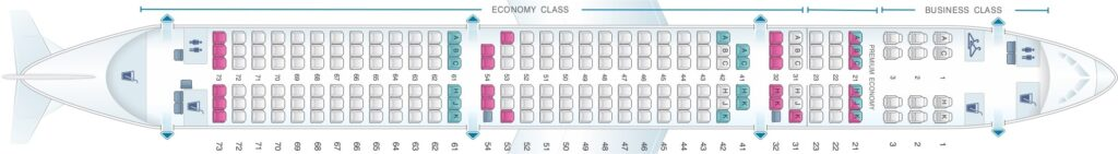 Seat Map and Seating Chart Airbus A321 200 Philippine Airlines PAL