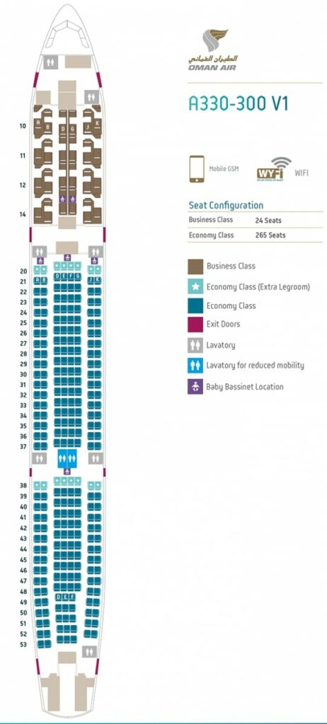 Seat Map and Seating Chart Airbus A330 300 V1 289 Seats Oman Air
