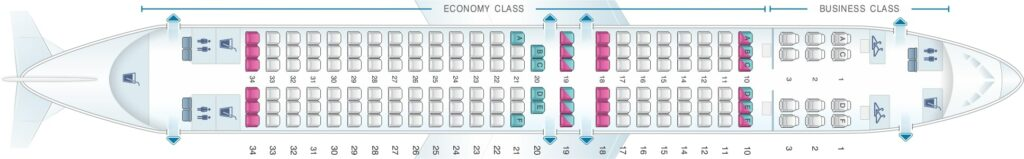 Seat Map and Seating Chart Boeing 737 800 Layout 154 Seats Oman Air