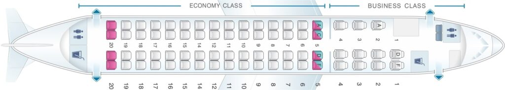 Seat Map and Seating Chart Embraer 175 Oman Air