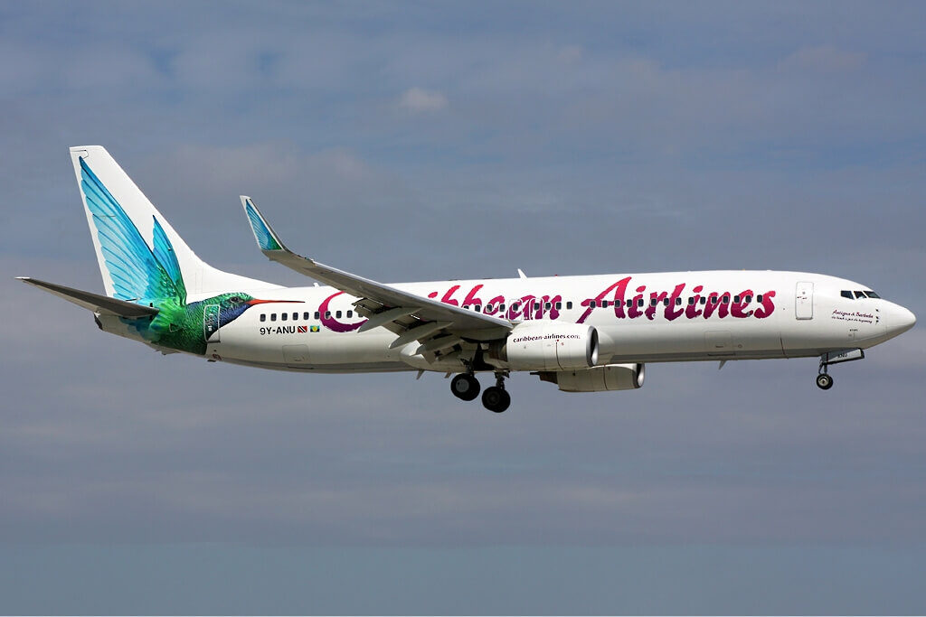 9Y ANU Caribbean Airlines Boeing 737 800 at Miami International Airport
