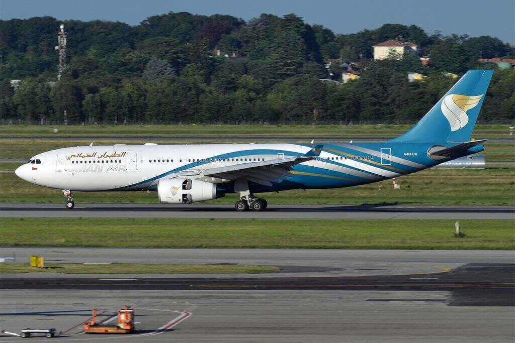 Oman Air A4O DA Airbus A330 243 at Milan Malpensa Airport