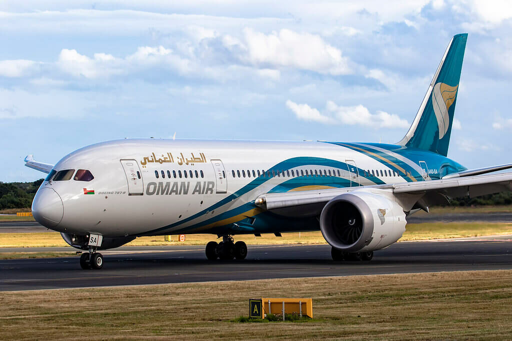 Oman Air A4O SA Boeing 787 8 Dreamliner at Manchester Airport