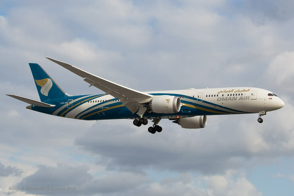 Oman Air A4O SF Boeing 787 9 Dreamliner at Heathrow Airport London