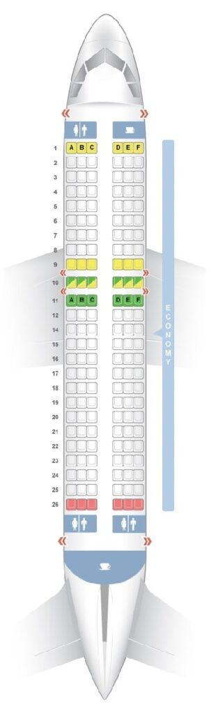 Seat Map and Seating Chart Airbus A320ceo neo InterJet