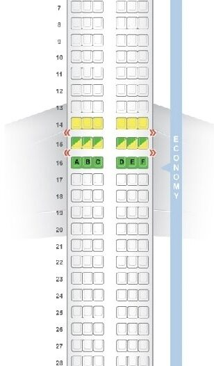 Seat Map and Seating Chart Boeing 737 800 V1 flydubai