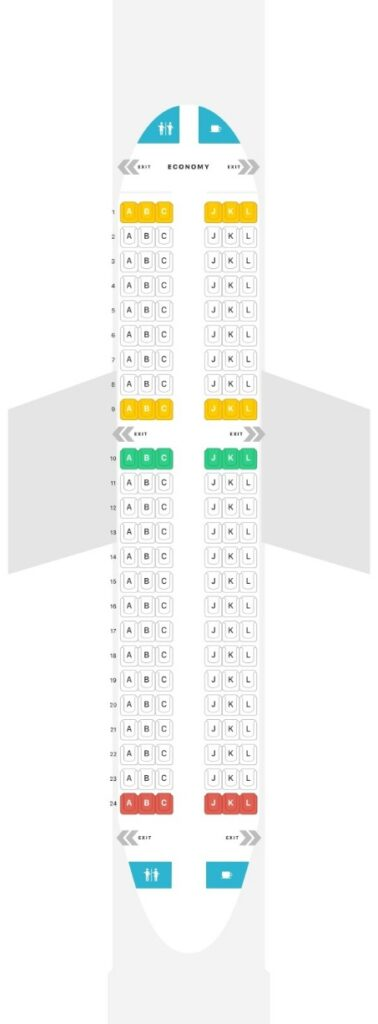 Seat Map and Seating Chart Airbus A319 100 LATAM Economy