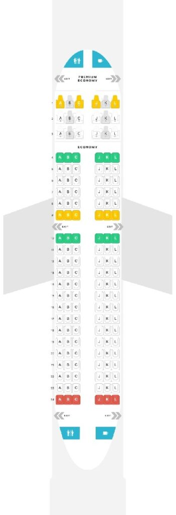 Seat Map and Seating Chart Airbus A319 100 LATAM Premium Economy