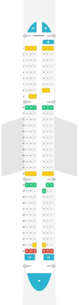 Seat Map and Seating Chart Airbus A321ceo neo InterJet