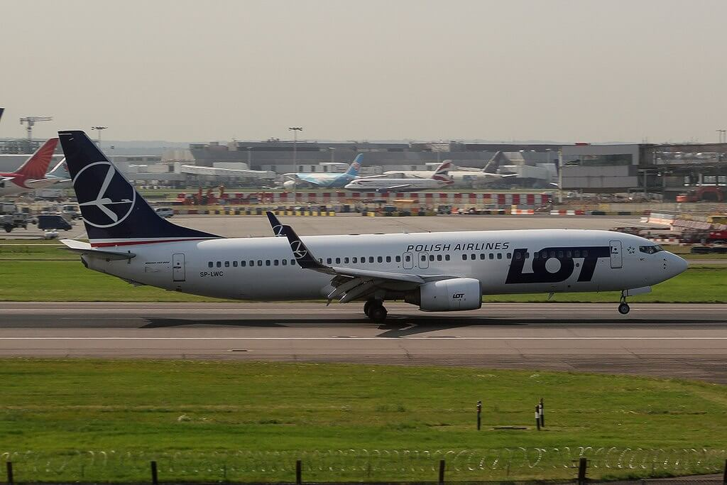 LOT Polish Airlines SP LWC Boeing 737 800 at London Heathrow Airport
