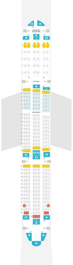 Seat Map and Seating Chart Boeing 787 9 Dreamliner V1 LATAM