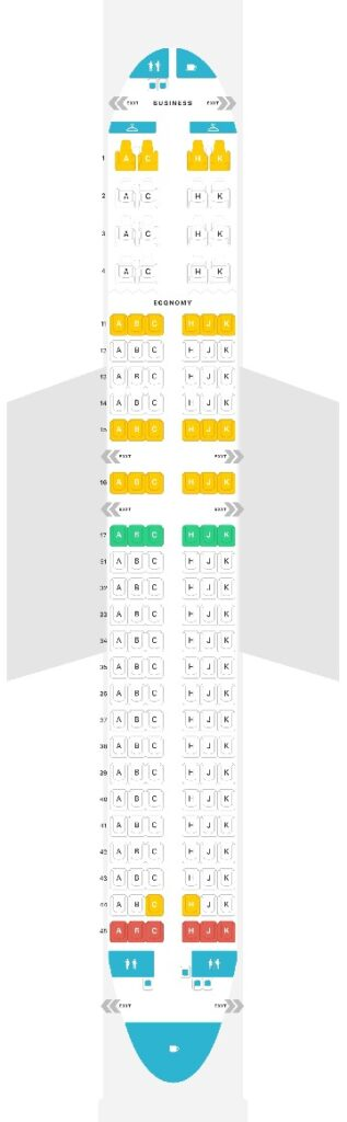 Seat Map and Seating Chart Airbus A320 200 Air Astana