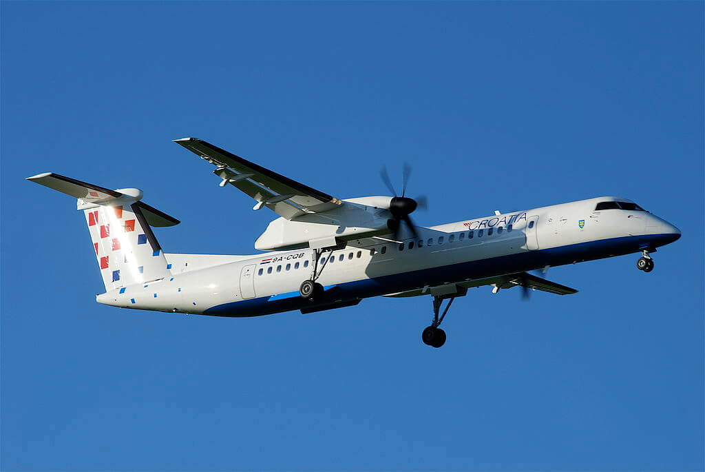 9A CQB De Havilland Canada DHC 8 400 of Croatia Airlines at Zurich International Airport