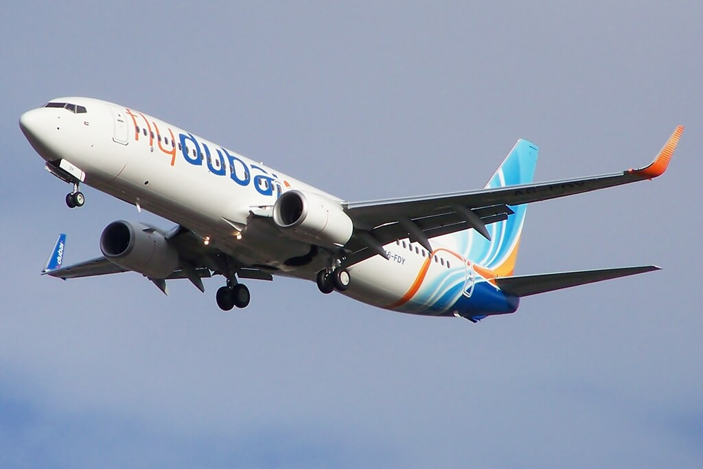 A6 FDY Boeing 737 800 Fly Dubai on delivery flight through Glasgow