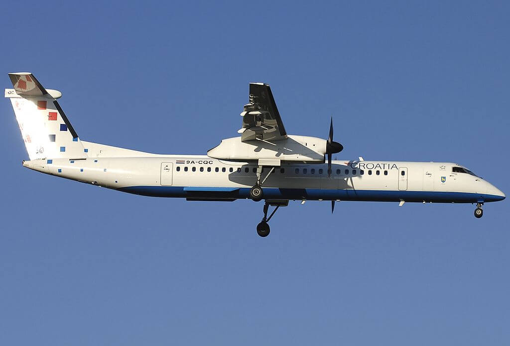 Bombardier Dash 8 Q402 Croatia Airlines 9A CQC at Fiumicino Airport