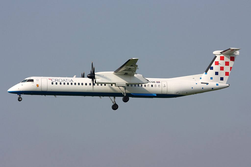 Croatia Airlines Bombardier DHC 8 402 Q400 9A CQE at Zurich International Airport