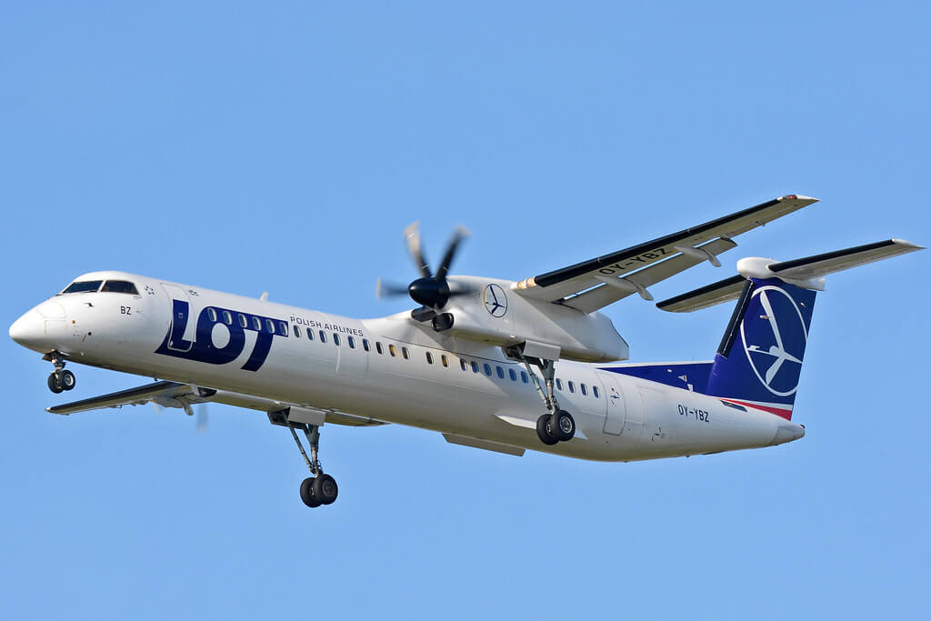 LOT Polish Airlines De Havilland Canada DHC 8 402Q Dash 8 OY YBZ at Warsaw Frederic Chopin Airport