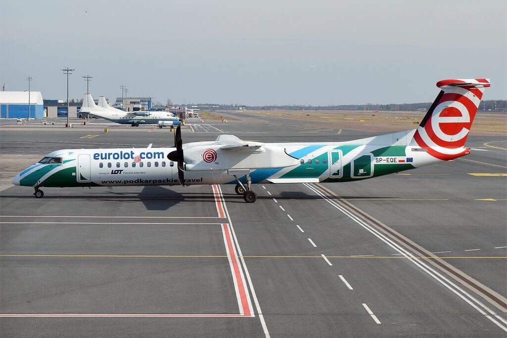 LOT Polish Airlines Eurolot Podkarpackie travel livery SP EQE Bombardier Dash 8Q400 at Tallinn Airport
