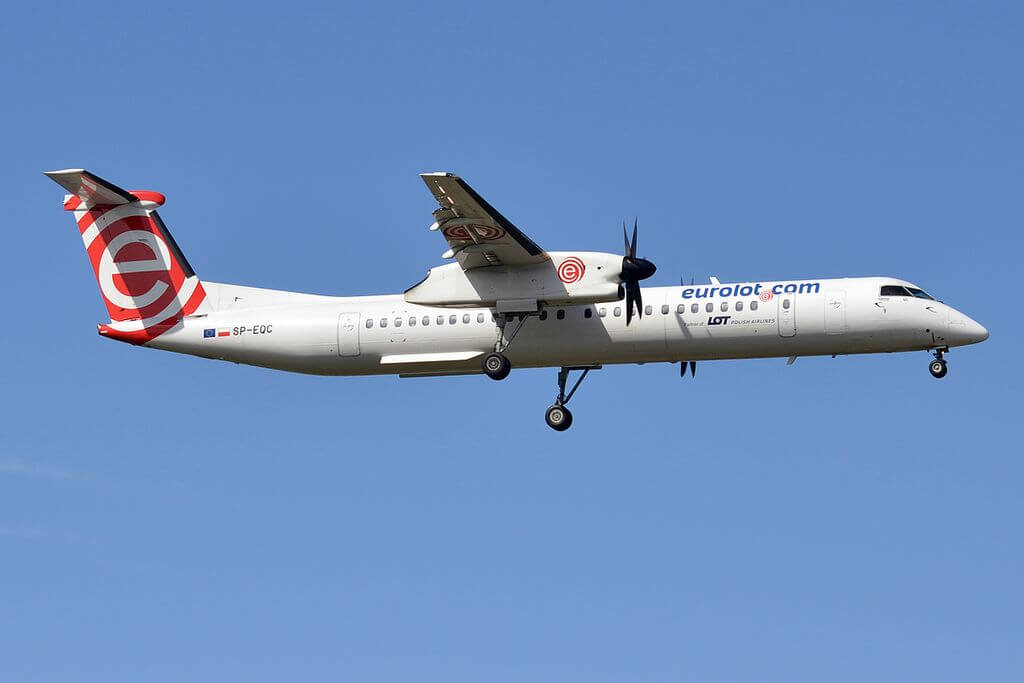 LOT Polish Airlines Eurolot SP EQC Bombardier Dash 8 Q400 at Tallinn Airport