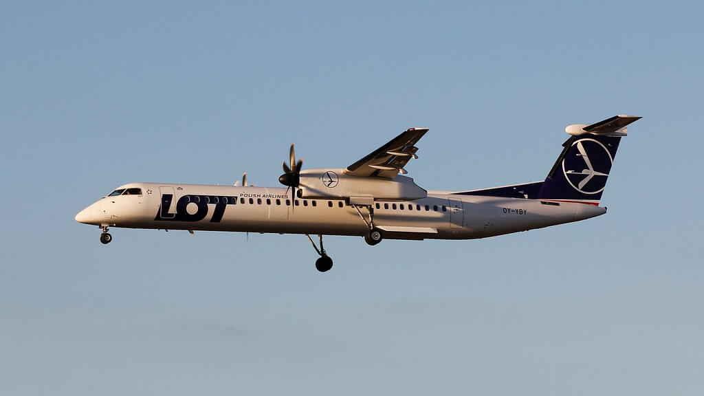 LOT Polish Airlines OY YBY Bombardier Dash 8 Q400 Katowice Airport