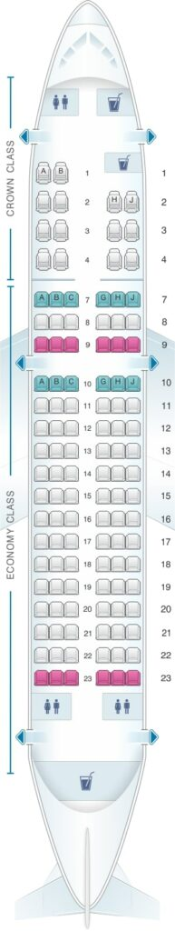 Seat Map and Seating Chart Airbus A319 100 Royal Jordanian