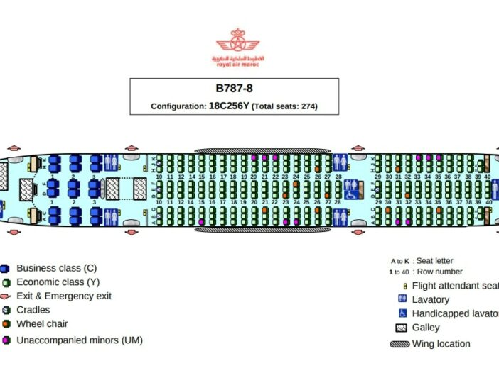 Seat Map and Seating Chart Boeing 787 8 Dreamliner Royal Air Maroc