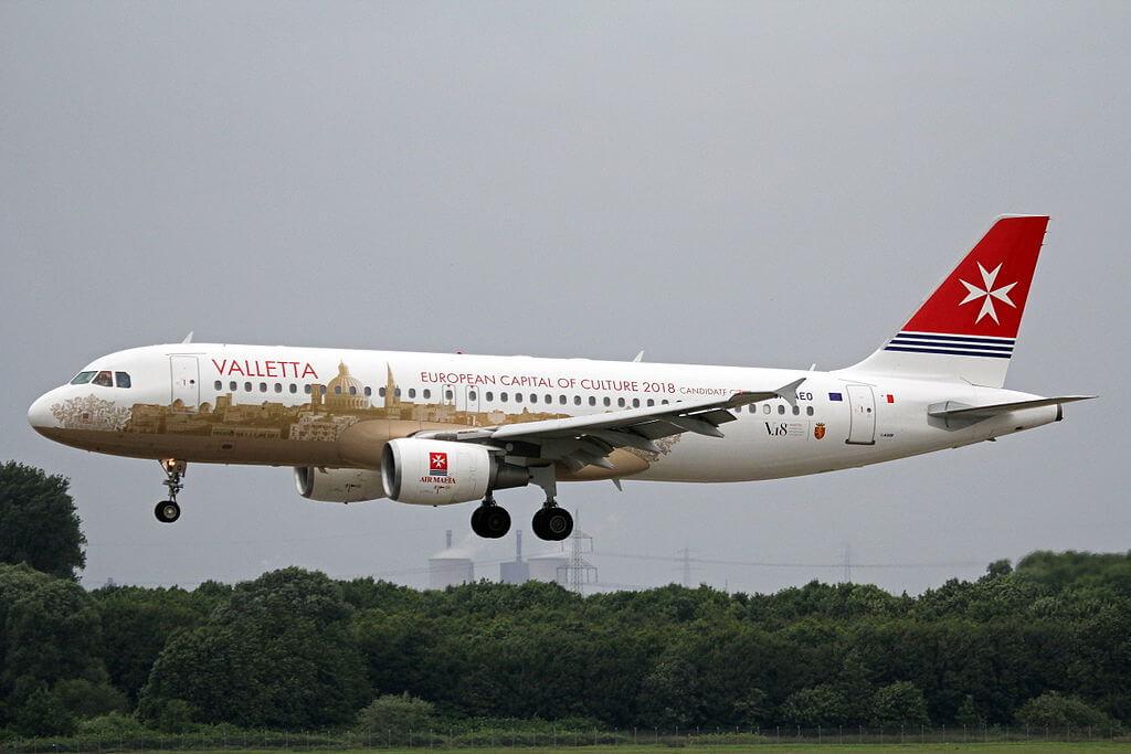 9H AEO Airbus A320 214 Air Malta Valletta European Capital of Culture at Düsseldorf Airport