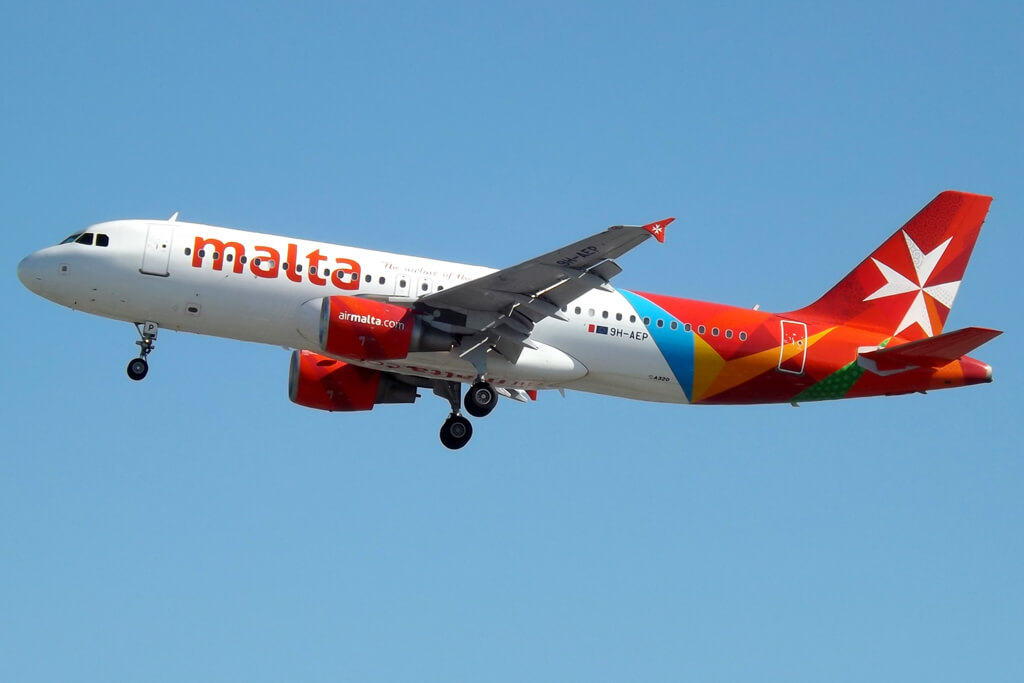 Air Malta Airbus A320 214 9H AEP at London Heathrow Airport
