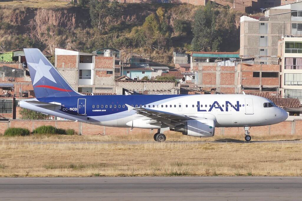Airbus A319 100 LATAM LAN CC BCD at CUZ Cusco Airport Peru
