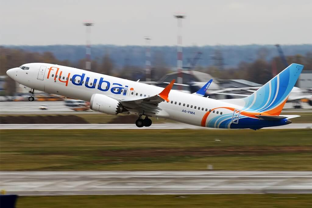 FlyDubai A6 FMA Boeing 737 MAX 8 at Sheremetyevo International Airport