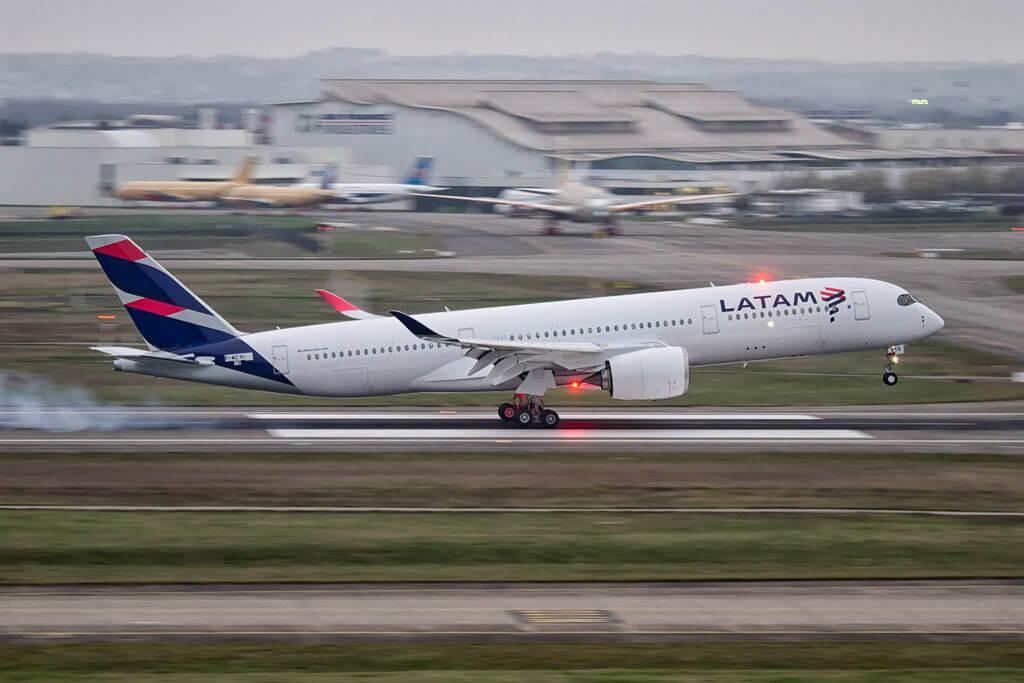 LATAM Airbus A350 941 F WZNI PR XTG at Toulouse Blagnac
