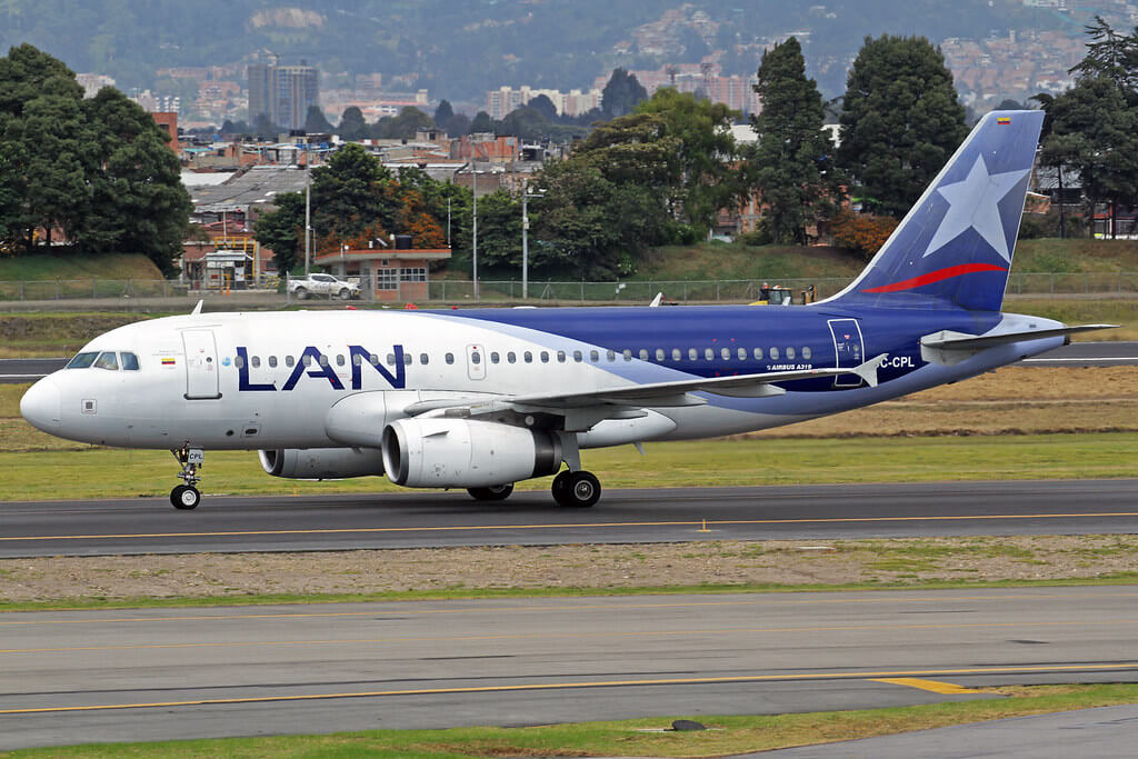 LATAM Airlines LAN Colombia Airbus A319 132 CC CPL at Bogota Airport