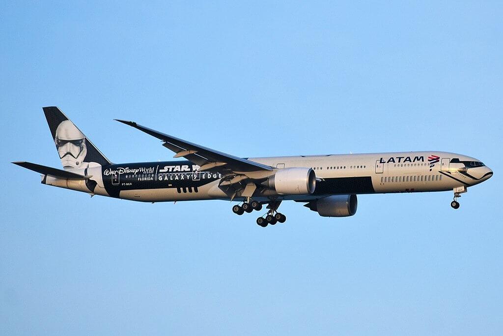 LATAM Brasil Boeing 777 32WER PT MUA Star Wars Galaxys Edge livery at JFK Airport