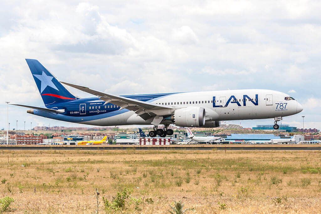 LATAM LAN Airlines Boeing 787 8 Dreamliner CC BBA at Madrid Barajas Airport