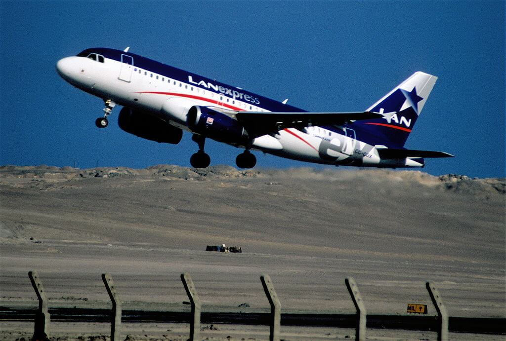 LATAM LAN CC COX Airbus A319 100 at Diego Aracena International Airport