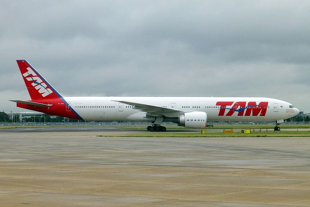 LATAM TAM Airlines PT MUF Boeing 777 300ER at London Heathrow Airport