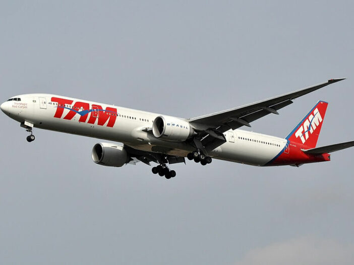 PT MUH Boeing 777 300ER of TAM Linhas Aéreas LATAM at London Heathrow Airport