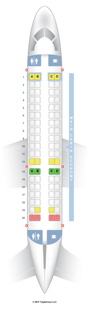 Seat Map and Seating Chart Aeromexico Connect Embraer ERJ 170