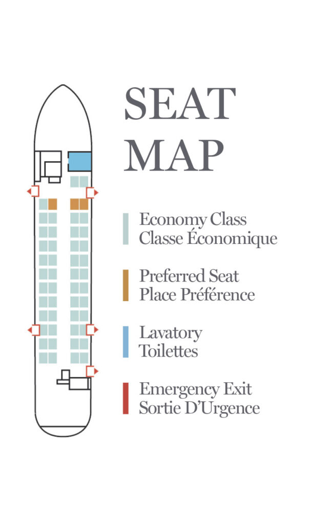Seat Map and Seating Chart Air Canada Express Jazz Bombardier Dash 8 300