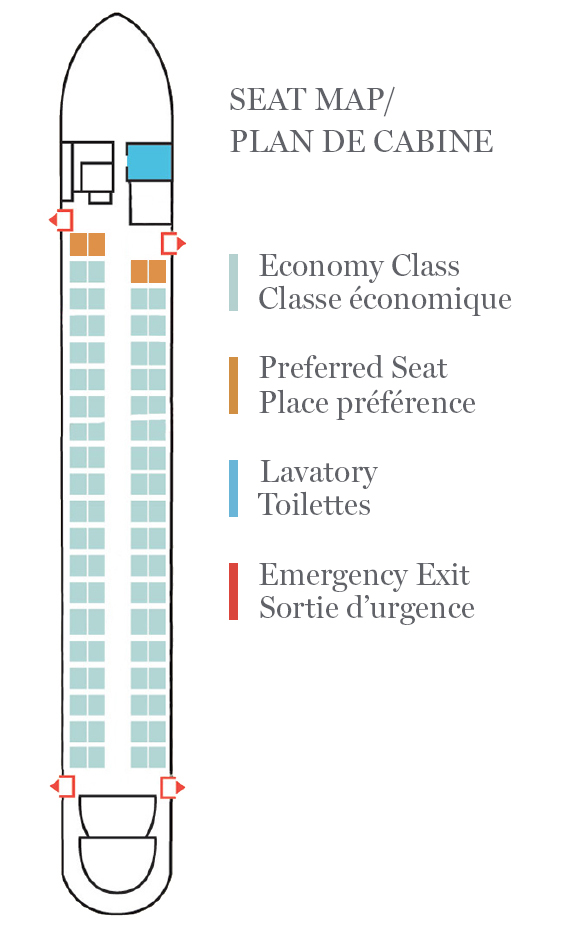 Seat Map and Seating Chart Air Canada Express Jazz Bombardier Dash 8 Q400