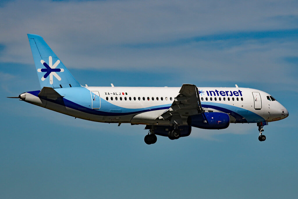 Sukhoi Superjet 100 Interjet XA ALJ at Miami International Airport