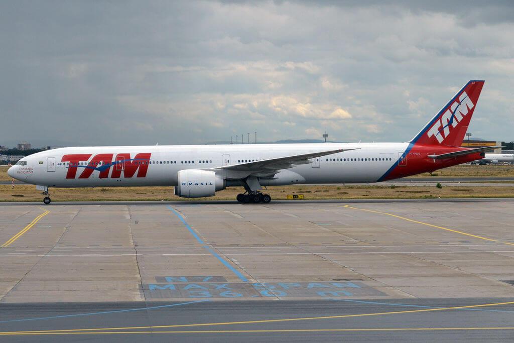 TAM Linhas Aéreas LATAM PT MUJ Boeing 777 32WER at Frankfurt Airport