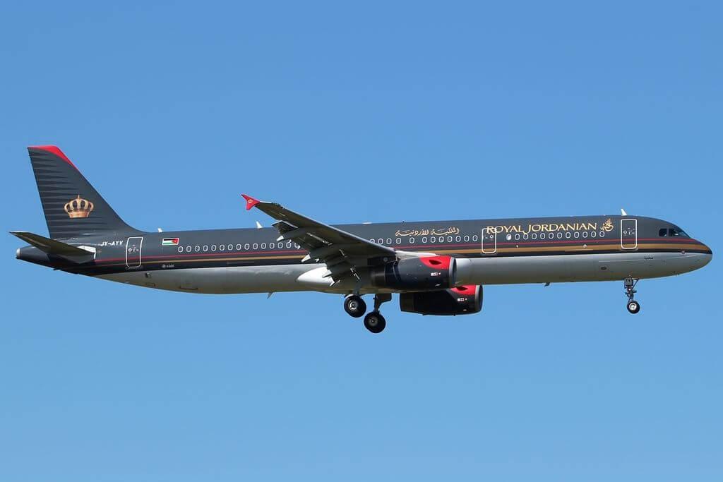 Airbus A321 231 Royal Jordanian JY AYV Madaba at London Heathrow Airport