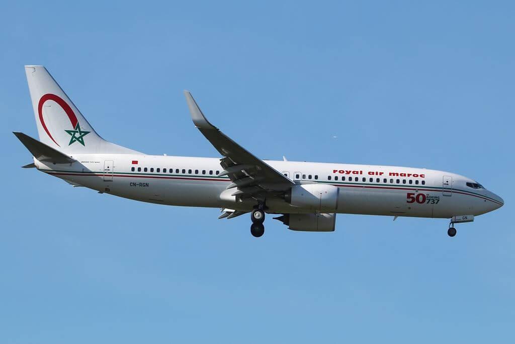 Boeing 737 8B6 Royal Air Maroc RAM CN RGN with 50th 737 sticker at London Heathrow Airport